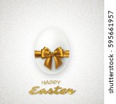 realistic 3d easter egg with... | Shutterstock .eps vector #595661957