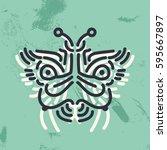 doodle ethnic patterned... | Shutterstock .eps vector #595667897