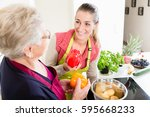 mother in law explaining... | Shutterstock . vector #595668233