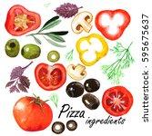 watercolor vegetables set....   Shutterstock . vector #595675637
