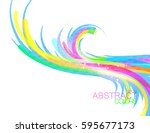 shiny lines colorful shape... | Shutterstock .eps vector #595677173