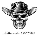 skull cowboy drawing in a... | Shutterstock . vector #595678073