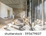 multifunctional bedroom in... | Shutterstock . vector #595679837