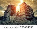 post apocalyptic destroyed... | Shutterstock . vector #595683353