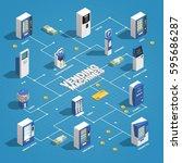 vending machines isometric... | Shutterstock .eps vector #595686287