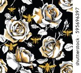 seamless pattern with image of... | Shutterstock .eps vector #595696397