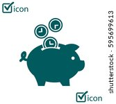 time is money piggy bank icon.... | Shutterstock .eps vector #595699613