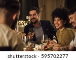 group of friends are enjoying a ... | Shutterstock . vector #595702277
