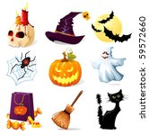 halloween icons | Shutterstock .eps vector #59572660