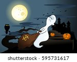 illustration of a ghost with... | Shutterstock . vector #595731617