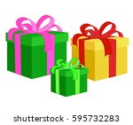 box for gifts. set. vector... | Shutterstock .eps vector #595732283