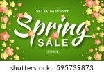 vector spring sale banner with  ... | Shutterstock .eps vector #595739873
