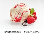 Stock photo close up still life of single scoop of vanilla raspberry ripple ice cream with fresh ingredients on 595746293
