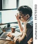 pensive business man at... | Shutterstock . vector #595755503