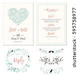 typographic wedding cards with... | Shutterstock .eps vector #595758977