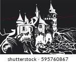 castle in black an white | Shutterstock .eps vector #595760867