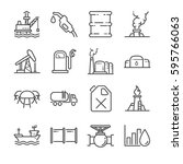 oil line icon set. included the ... | Shutterstock .eps vector #595766063