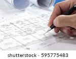 engineering diagram blueprint... | Shutterstock . vector #595775483
