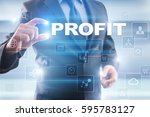 businessman selecting profit on ... | Shutterstock . vector #595783127
