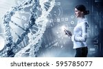 her biochemistry research and... | Shutterstock . vector #595785077