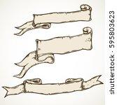 vintage hand drawn ribbon... | Shutterstock .eps vector #595803623