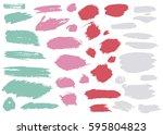 colorful set of brush strokes ... | Shutterstock .eps vector #595804823