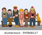 young people sit on the bench.... | Shutterstock .eps vector #595808117