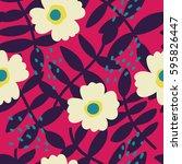 beautiful floral pattern.... | Shutterstock .eps vector #595826447