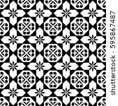 spanish tiles pattern  moroccan ... | Shutterstock .eps vector #595867487