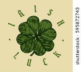 irish luck round shamrock print  | Shutterstock .eps vector #595872743