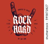 rock hard hand print with... | Shutterstock .eps vector #595872827