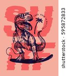 dinosaur surfer pink print | Shutterstock .eps vector #595872833