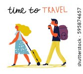 couple traveling together.... | Shutterstock .eps vector #595874657