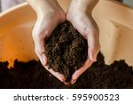 a handful of soil.soil in... | Shutterstock . vector #595900523
