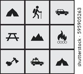 set of 9 editable camping icons.... | Shutterstock .eps vector #595905263