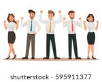 success business man and girl... | Shutterstock .eps vector #595911377