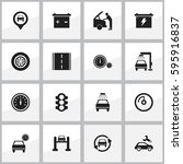 set of 16 editable car icons....