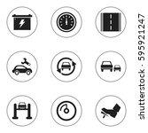 set of 9 editable car icons....   Shutterstock .eps vector #595921247