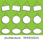 doodle style hanging signs or... | Shutterstock .eps vector #595923323