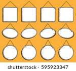 doodle style hanging signs or... | Shutterstock .eps vector #595923347