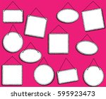doodle style hanging signs or... | Shutterstock .eps vector #595923473