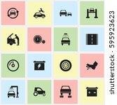 set of 16 editable vehicle... | Shutterstock .eps vector #595923623