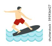 surfer man on surfboard icon in ... | Shutterstock .eps vector #595936427
