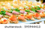 delicacies and snacks in the... | Shutterstock . vector #595944413