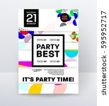 invitation disco party poster... | Shutterstock .eps vector #595952717
