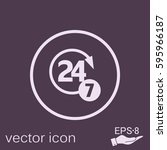 24 7 icon. open 24 hours a day... | Shutterstock .eps vector #595966187