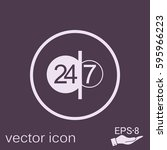 24 7 icon. open 24 hours a day... | Shutterstock .eps vector #595966223