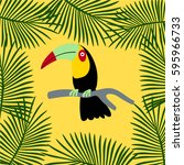 parrot and palm | Shutterstock .eps vector #595966733