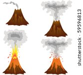different stages of volcano... | Shutterstock .eps vector #59596813