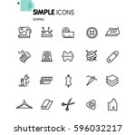 simple set of sewing related... | Shutterstock .eps vector #596032217
